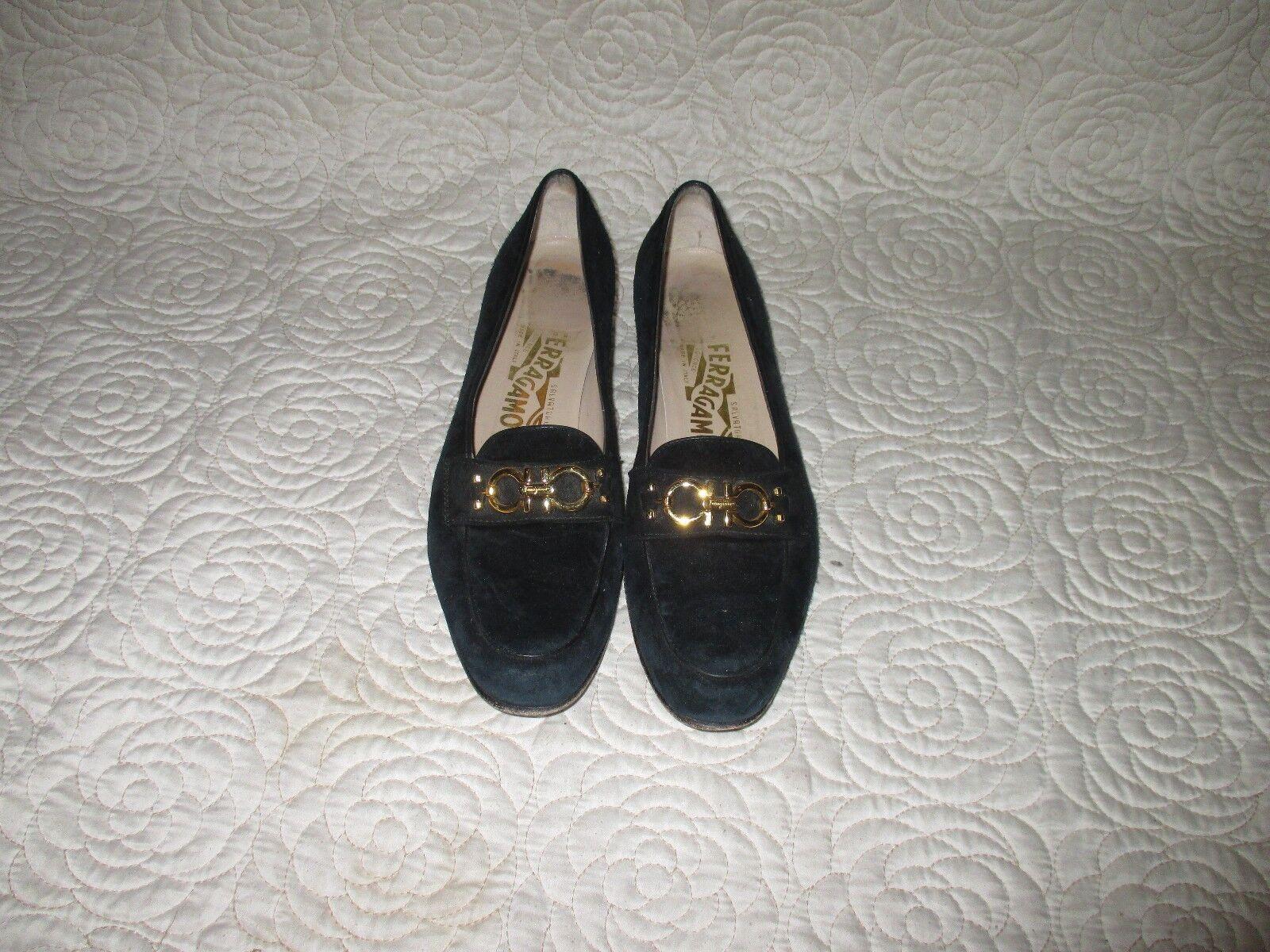 SALVATORE FERRAGAMO - black Suede leather  Gancini Bit Loafers  8.5 AAAA