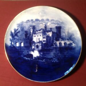 Discret Grande Superbe Antique Staffordshire Ou Royal Doulton Blue Castle Plaque-afficher Le Titre D'origine
