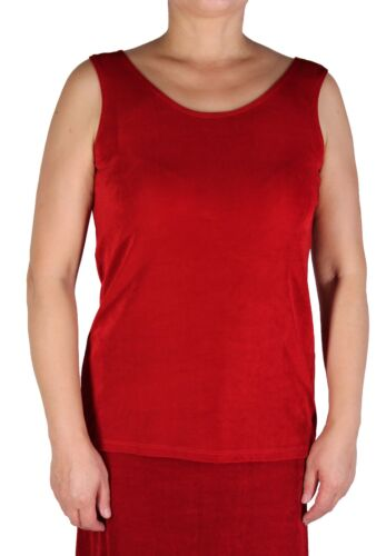 Women/'s Solid Red Tank Top Plus Size Slinky Travel Knit Stretch Casual Wear