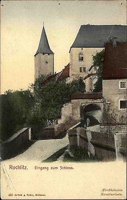 Rochlitz Um 1907 Handcolorierte Künstlerkarte Schloss Mit Bahnpost Reichenbach Husten Heilen Und Auswurf Erleichtern Und Heiserkeit Lindern Deutschland Sachsen