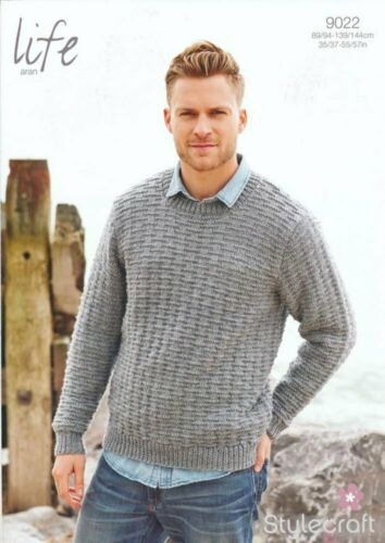 Stylecraft 9022 Life Aran Knitting Pattern Round Neck Sweater