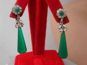 Vintage-Art-Deco-Style-Dangle-Rhinestone-Ball-Faceted-Green-Glass-Drop-Clip-Ergs