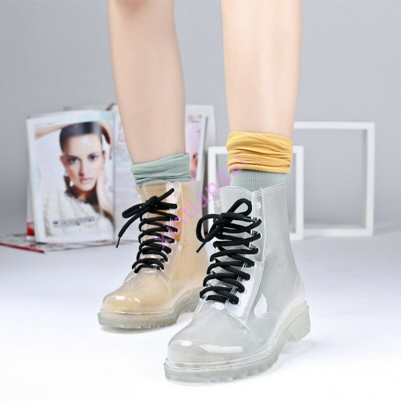 Fashion Korean Womens Girl PVC Transparent Crystal Clear Flat Rain Boots shoes