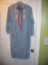 Liz Claiborne Country Jean Dress Size 4 Long Sleeve Shirt Dress 100% Cotton