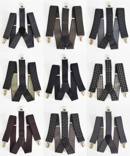 Men Boys Adjustable 3.5cm Width solid Suspenders Clip-on Strong Braces UK Seller