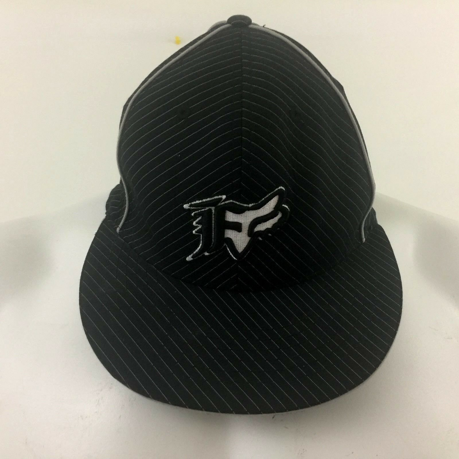 Fox Flex Racing Ball Cap Black Striped Flex Fox Fit Cotton Blend L/XL f52e6e