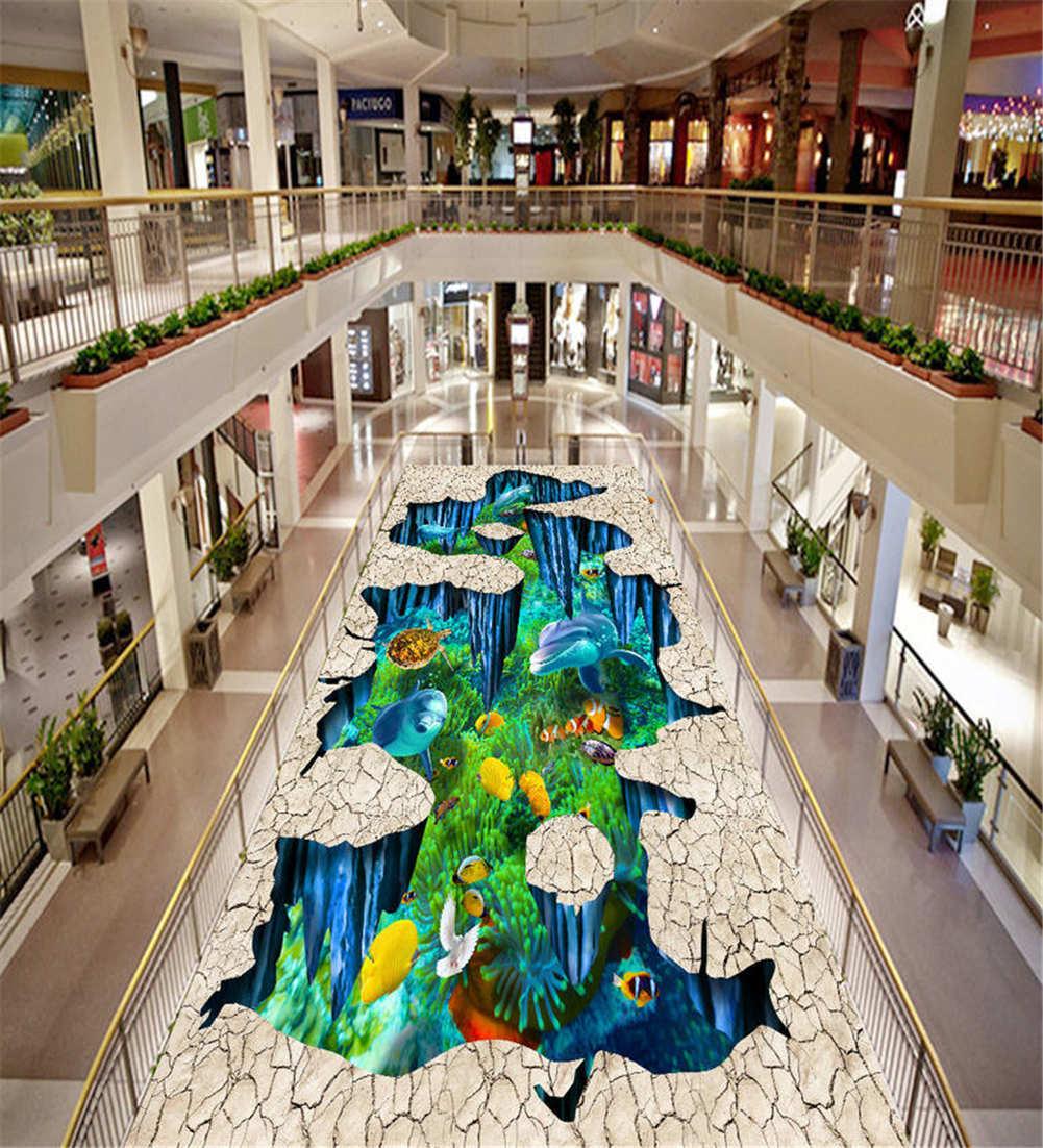 Sea Under Dry Land 3D Floor Mural Photo Flooring Wallpaper Home Print Decoration