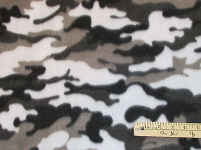 Black & White Camouflage Camo Fleece Fabric by the Yard