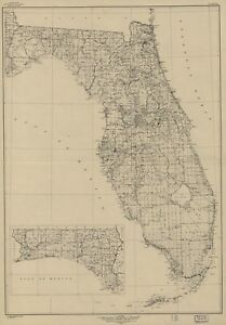 A4 Reprint of American Cities Towns States Map Florida | eBay