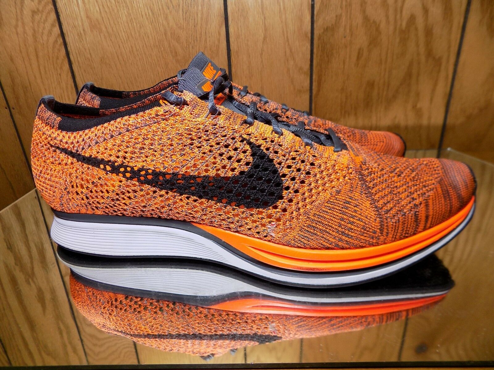 NEW NIKE AIR FLYKNIT RACER TOTAL ORANGE RUNNING SHOE 526628-810 MEN SIZE 13 NEW