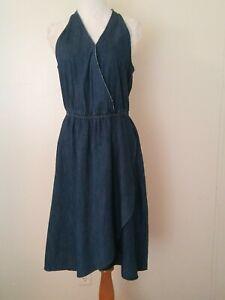 Universal-Thread-Sleeveless-Blue-Denim-Medium-Wash-Jeans-Flare-Dress-Size-Small