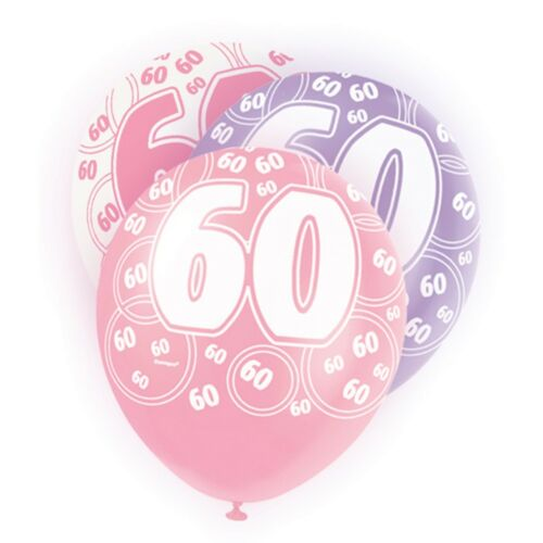 "6 Pink Sparkle Happy 60th Birthday 12/"" Pearlized Printed Latex Balloons"