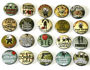 ZOMBIE-BADGES-Buttons-Pins-Lot-x-20-Funny-Zombies-Slogans-25mm-One-Inch-1-034
