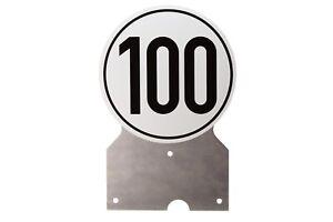 100km-h-Aufkleber-mit-Halterung-Konsole-fuer-PKW-Anhaenger-100-er-kmh-Schild