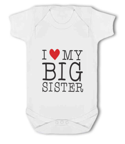 I love my Big Sister cute heart Baby Vest