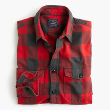 New J Crew Midweight Flannel Shirt Red Buffalo Plaid Button Up Large NWT
