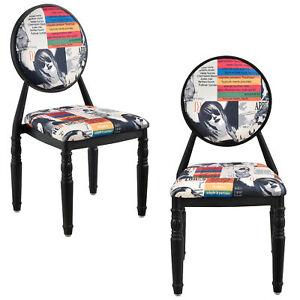 ® Chaise rembourrée kit de 2 noir Patchwork bariolé rétro fauteuil en.casa