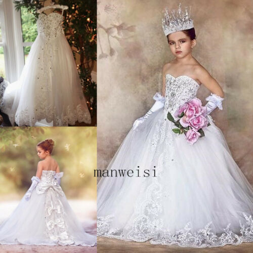 Crystal Princess Flower Girl Dresses White Ivory Lace Party Birthday Ball Gowns