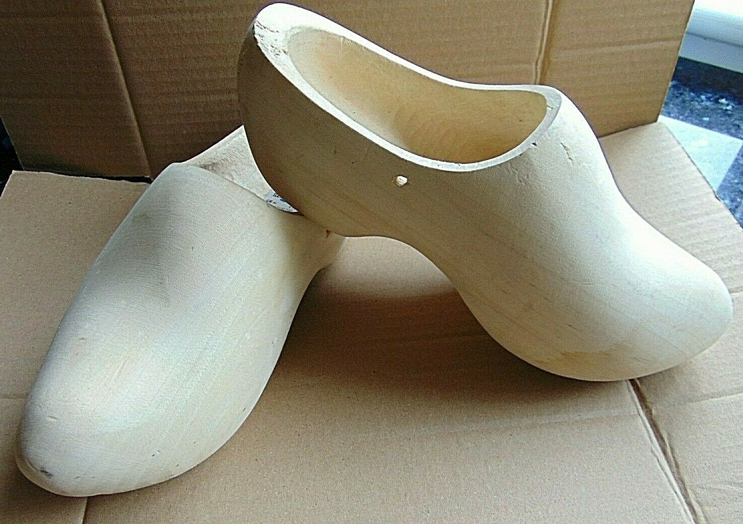 Pair Wooden Shoes Cloggs 24cm 37-38 Made In Holland Paint Your Own Wood Shoes ?