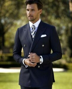 ed7e12b664 Details about Men's Navy Double Breasted Stripe Suit Tuxedos Grooms Wedding  Dinner Suit Custom