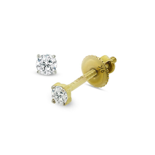 9CT YELLOW GOLD 2.5MM ROUND WHITE 0.10 CARAT DIAMOND STUD EARRINGS GIFT BOXED