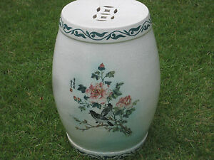 Image Is Loading Antique Japanese Garden Seat Birds And Flowers