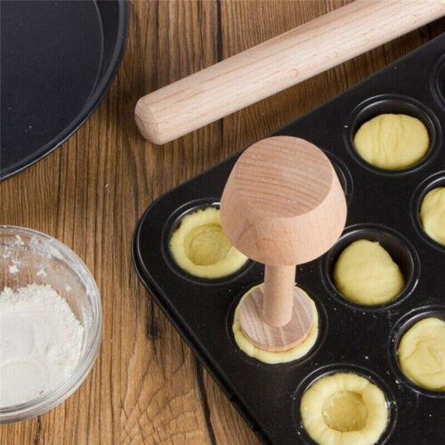 Wooden Pastry Pusher Egg Tart Double Side Tamper Pastry Pusher Eggtart Mold.hc