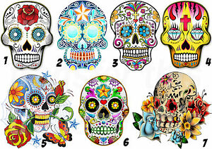 MEXICAN-SUGAR-SKULL-STICKER-AUTOCOLLANT-OU-TRANSFERT-TEXTILE-VETEMENT-T-SHIRT