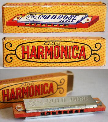 ULTRA RARE VINTAGE 60'S 70'S LITTLE HARMONICA GOLD ROSE 8 HOLE JAPAN NEW MIB !