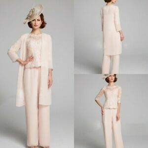 3PCS-Chiffon-Mother-Of-The-Bride-Groon-Pants-Suits-Outfits-Jacket-Lace-Appliqued