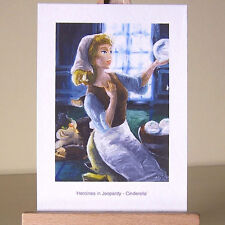 Oil painting style drawing of WDCC Cinderella with Lucifer the cat ACEO art