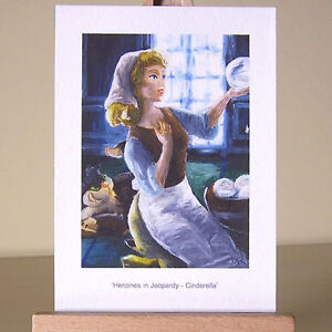 Oil-painting-style-drawing-of-WDCC-Cinderella-with-Lucifer-the-cat-ACEO-art