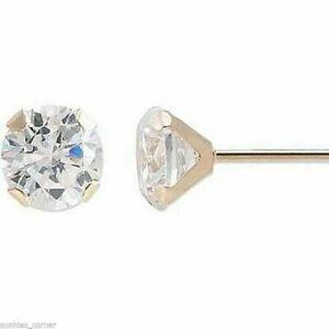 Genuine Diamond Stud Screw Back Earrings in Solid 14k Yellow gold