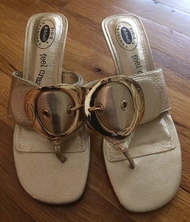 New Dr. Scholl's Gold Women's Sandals Shoes Kitten 1/2 Heel  Size 7 1/2 Kitten NWOB 2a1b1d