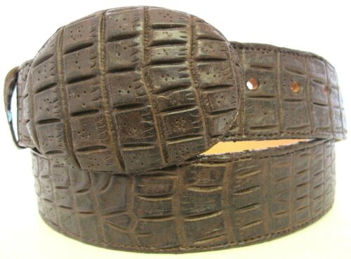 Belt Crocodile Alligator Belly Cut design Embossed Leather Cowboy Western Brown