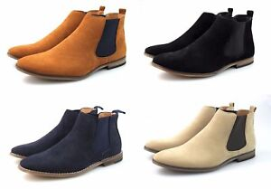 Mens Black Tan Navy Blue Beige Faux Suede Chelsea Boots Casual