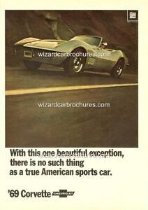 1969 CHEVROLET CHEVY CORVETTE A3 POSTER AD ADVERT ADVERTISEMENT SALES BROCHURE