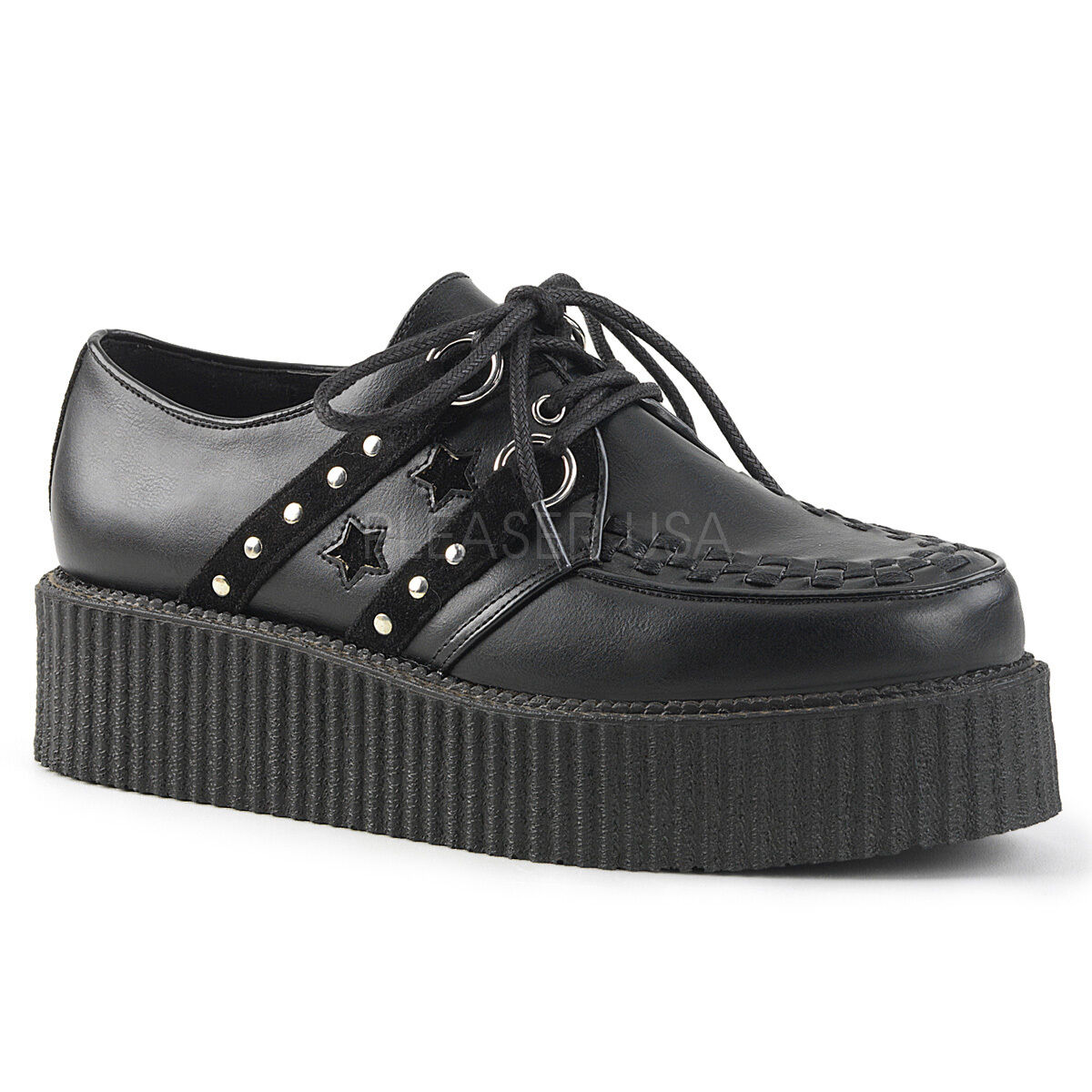 DEMONIA Men's Gothic Punk 2  Platform Creepers shoes Sudding & Faux Suede Accent