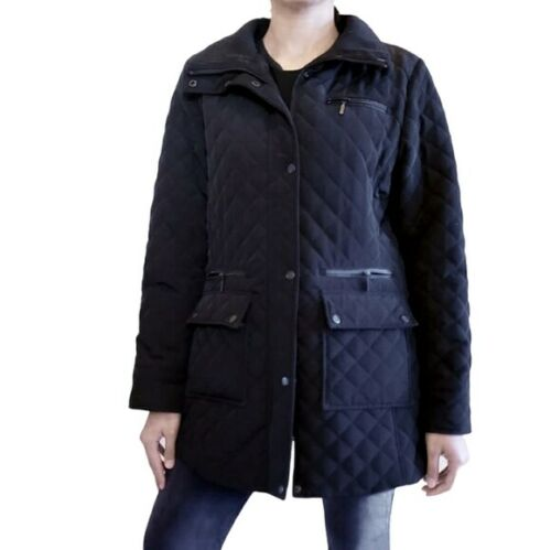 Calvin Klein Black Quilted Long Jacket Black quilt