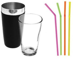 308b10a39ab8 Image is loading Professional-Boston-Cocktail-Shaker-Set-Black-Tin-and-