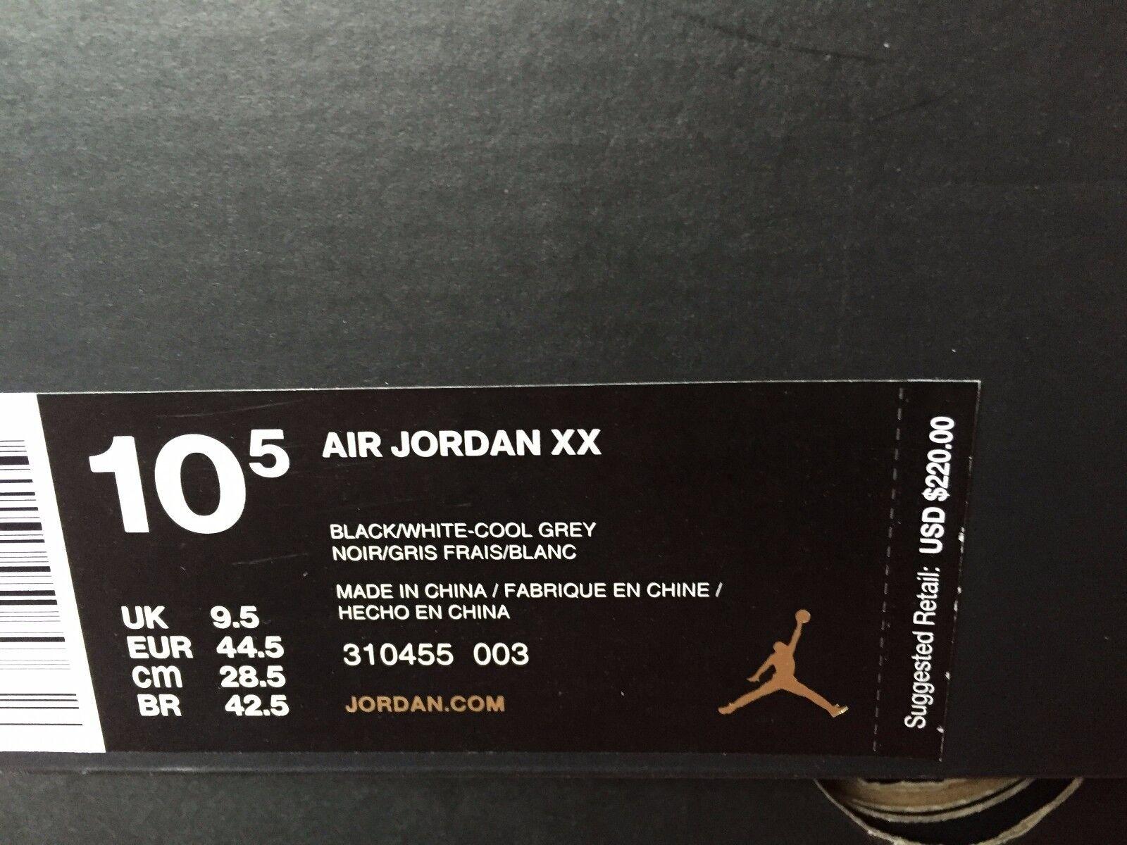 Nike air jordan 20 xx oreo sz grey 10,5 bianco nero fico grey sz wing 310455-003 playoff 18b9e1