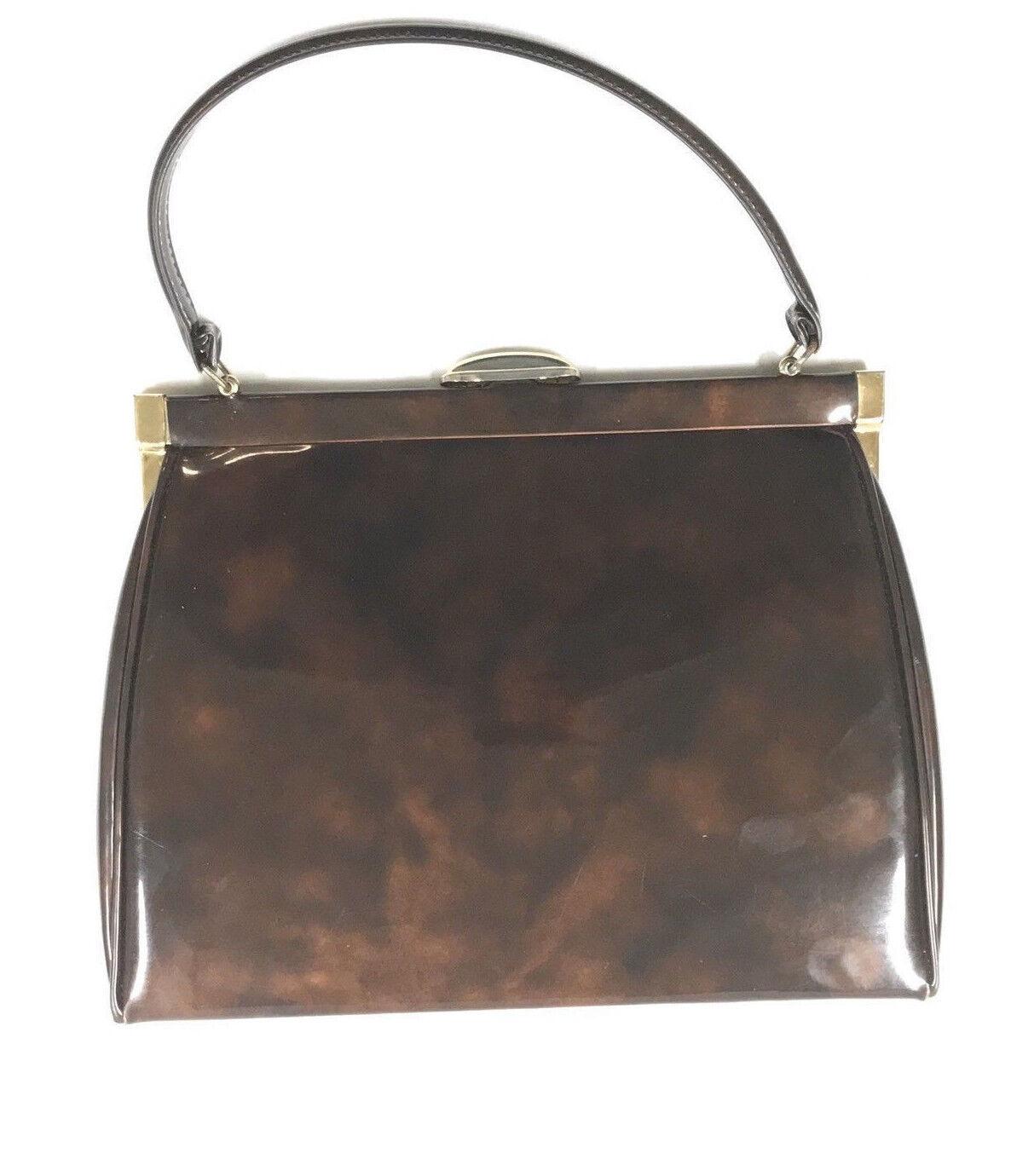 JULIUS RESNICK Marbled Patent Brown Leather Purse Handbag