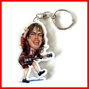 AC/DC ANGUS YOUNG PORTE CLE! Heavy metal Rock Caricatur Keychain Guitar miniatur