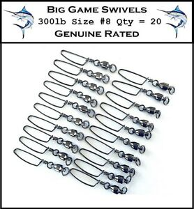 20-x-300-lb-Coast-lock-Snap-Swivels-8-Game-Fishing-Swivels-Trolling-Swivels