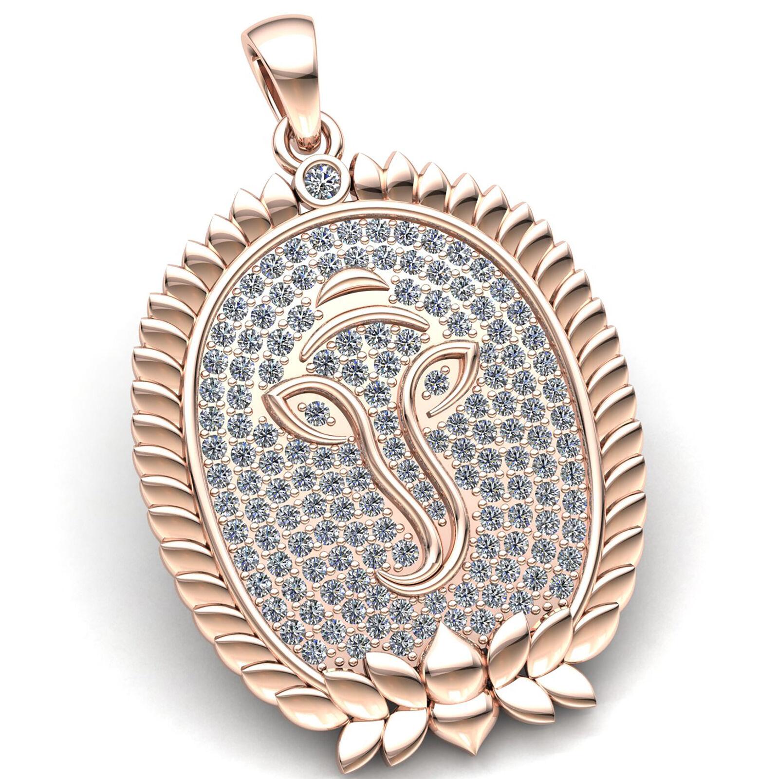 Genuine 5ct Round Cut Diamond Ladies Fancy Ganesh Religious Pendant 18K gold