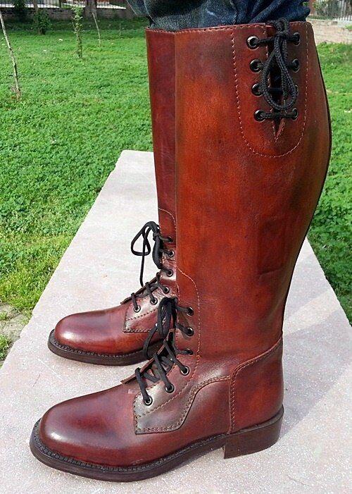 MUX in pelle fatti a mano mano mano Edward Riding Boot, rifinito a mano due tonalità 9afefb