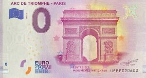 BILLET-0-EURO-ARC-DE-TRIOMPHE-PARIS-FRANCE-2018-NUMERO-20600