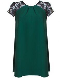 Topshop by Love Forest Green Yolk Spitze Swing Kleid UK 10 Euro 38 US 6 Bnwt