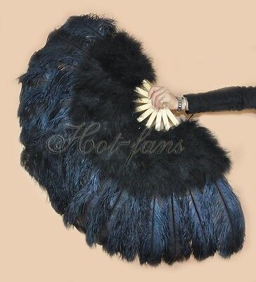 "Burlesque 27"" x 53"" black Marabou & Ostrich Feathers Fan with gift box"