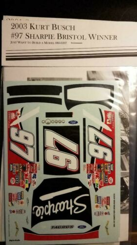 1//24 NASCAR decal #97 Sharpie Bristol winner Taurus //JWTBM